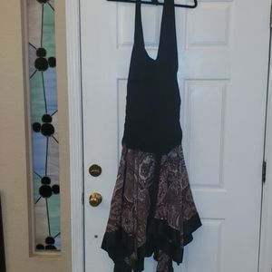 AGB Black Paisley Size 20 Halter High Low Dress